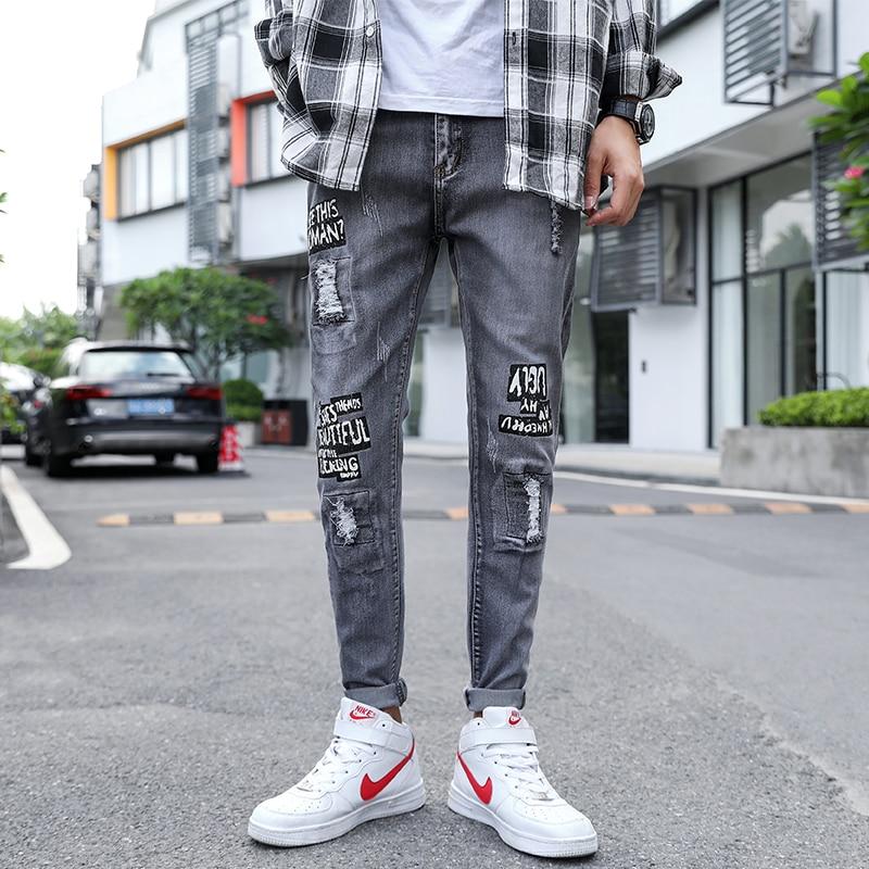 2020 Spring Korean Popular Design High Quality Denim Ripped Jeans Men Slim Casual Skinny Jeans Men's Street Hip Hop Long Pants