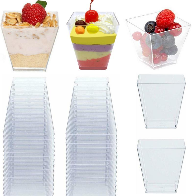 50pcs 60ml Disposable Plastic Cups Clear Portion Transparent Trapezoidal Food Container for Jelly Yogurt Mousses Dessert Baking