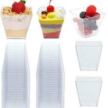 Copos plásticos descartáveis 50 peças 60ml, porção transparente, recipiente de comida trapezoidal para gelatina, moussins, sobremesa, assar