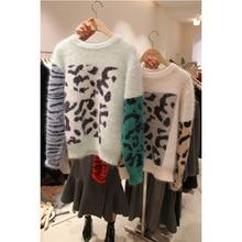 Leopard Print Sweater Woman 2019 Autumn New Round Collar Long Sleeve Knitting Woolen Tide O-Neck Pullovers Sweater Women 2019 autumn sweater new women hemp irregular pullover woolen sweater o neck pullovers women sweater