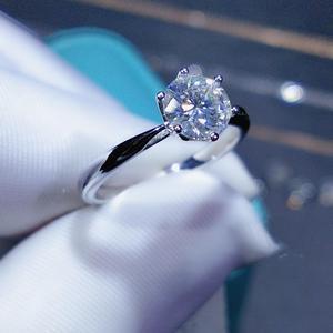 Image 2 - Geoki חדש פופולרי 1 ct עבר יהלומים מבחן Moissanite טבעת כסף 925 מושלם לחתוך מעולה D צבע פנינה אירוסין טבעת