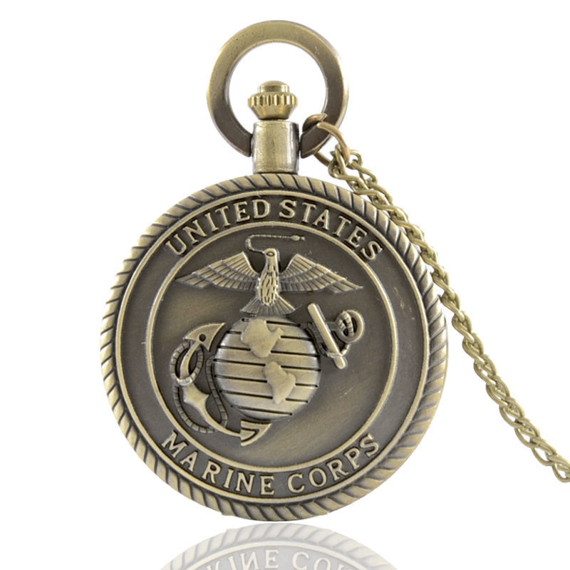 IBEINA USMC Pocket Watch United States Marine Corps Veterans Full Hunter Quartz Engraved Fob Retro Pendant Pocket Watch Chain
