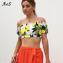 Anbenser Sexy Off Shoulder Crop Top Tshirt Women Summer Beach vacation Elegant Cropped women tops Print Harajuku T Shirt