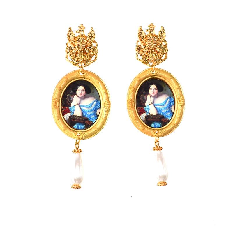 Леди королева Камея висячие серьги жемчужная подвеска винтажный вид фигура модные ювелирные изделия для женщин