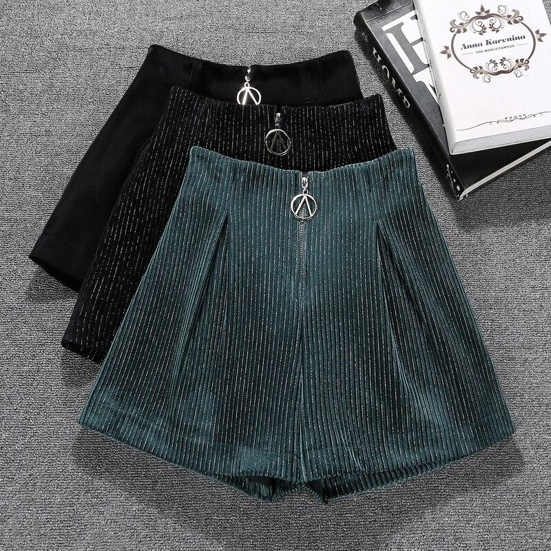 Autumn Winter Bright Mini Velvet Shorts Women High Waist Wide Leg Short Pants Ladies Office Work Booty Shorts Front Zipper