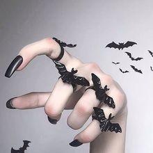 Милое кольцо для Хэллоуина с черной летучей мышью, регулируемое кольцо в готическом стиле, ювелирные изделия унисекс