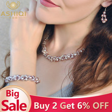 ASHIQI Natural Freshwater Pearl Jewelry Sets & More Hand-knitted Necklace Bracelet Earrings for Women NE+BR+EA(China)