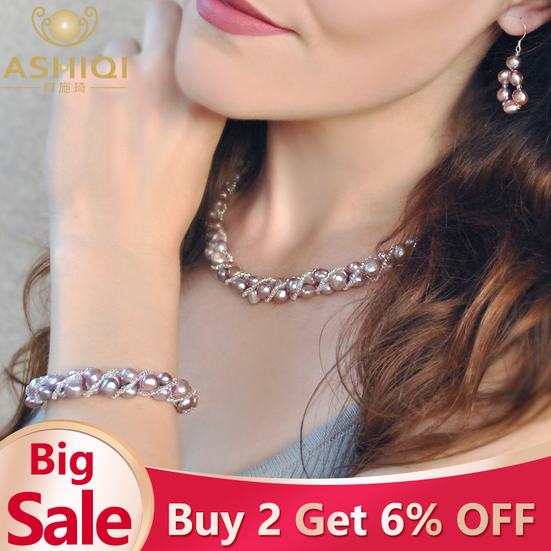 ASHIQI Natural Freshwater Pearl Jewelry Sets & More Hand-knitted Necklace Bracelet Earrings for Women NE+BR+EA