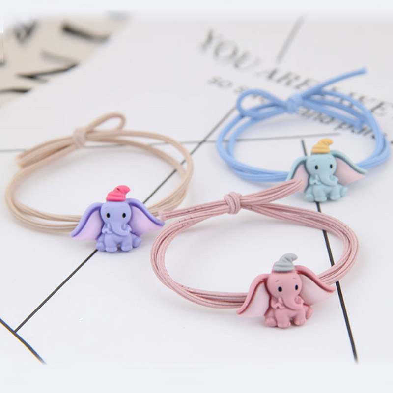 Cute Cartoon Dumbo Ponytail Holder Hair Scrunchies For Women Fashion Jewelry Knotted Elastic Rubber Bands Femme Girls Ornaments