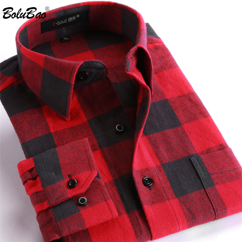 BOLUBAO Quality Brand Men Casual Shirts Tops Autumn Winter New Men's Cotton Plaid Shirt Comfortable Warm Long Sleeve Shirt Male