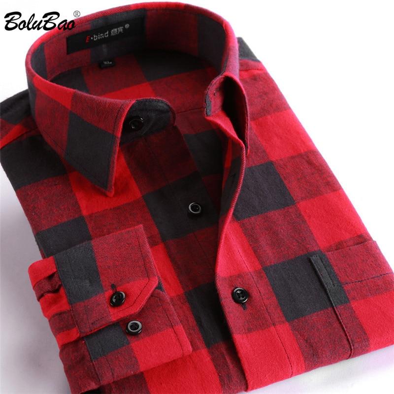 BOLUBAO Quality Brand Men Casual Shirts Tops Autumn Winter New Men's Cotton Plaid Shirt Comfortable Warm Long Sleeve Shirt Male