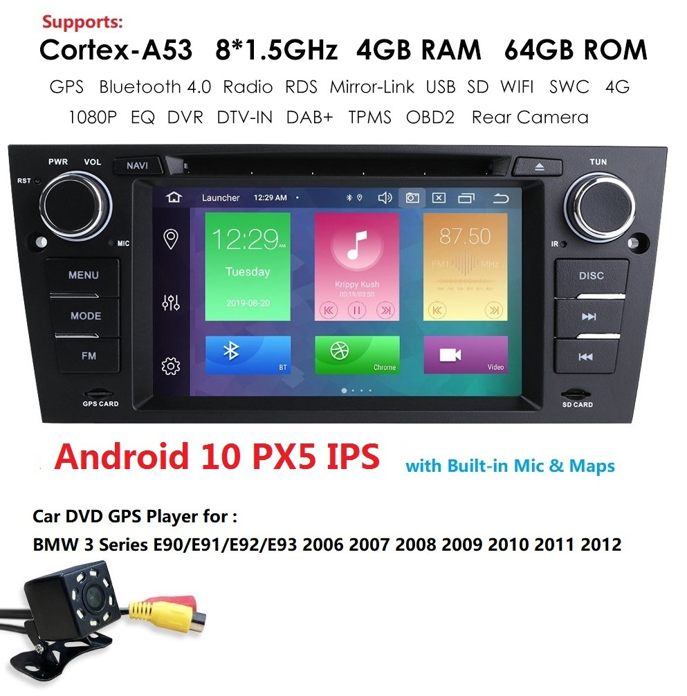 1 Din Car Multimedia Player GPS <font><b>Android</b></font> 10 For <font><b>BMW</b></font> 3 Series <font><b>E90</b></font>/<font><b>E91</b></font>/<font><b>E92</b></font>/<font><b>E93</b></font> 2006-2012 DVD Player Radio FM Octa Core 4G+64G dab+ image