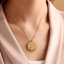 цена на Gold Eye Enamel Pendant Necklace for Woman Egyptian Eye Necklace Coin Long Chain Bohemian Jewerly de ojo turco Evil Eye Necklace