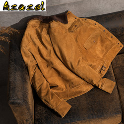 Azazel Genuine Leather Jacket Men Autumn Cow Suede Coat Short Slim Men's Cow Leather Jackets Chaqueta Cuero Hombre 1928 YY285