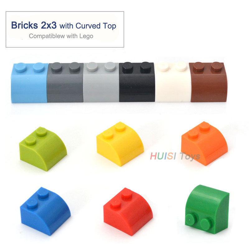 Children Eudcational Learning Toys Plastic Blocks Parts Building Toys Bricks 2x3 With Curved Top Compatible with LEGOO 50pcs