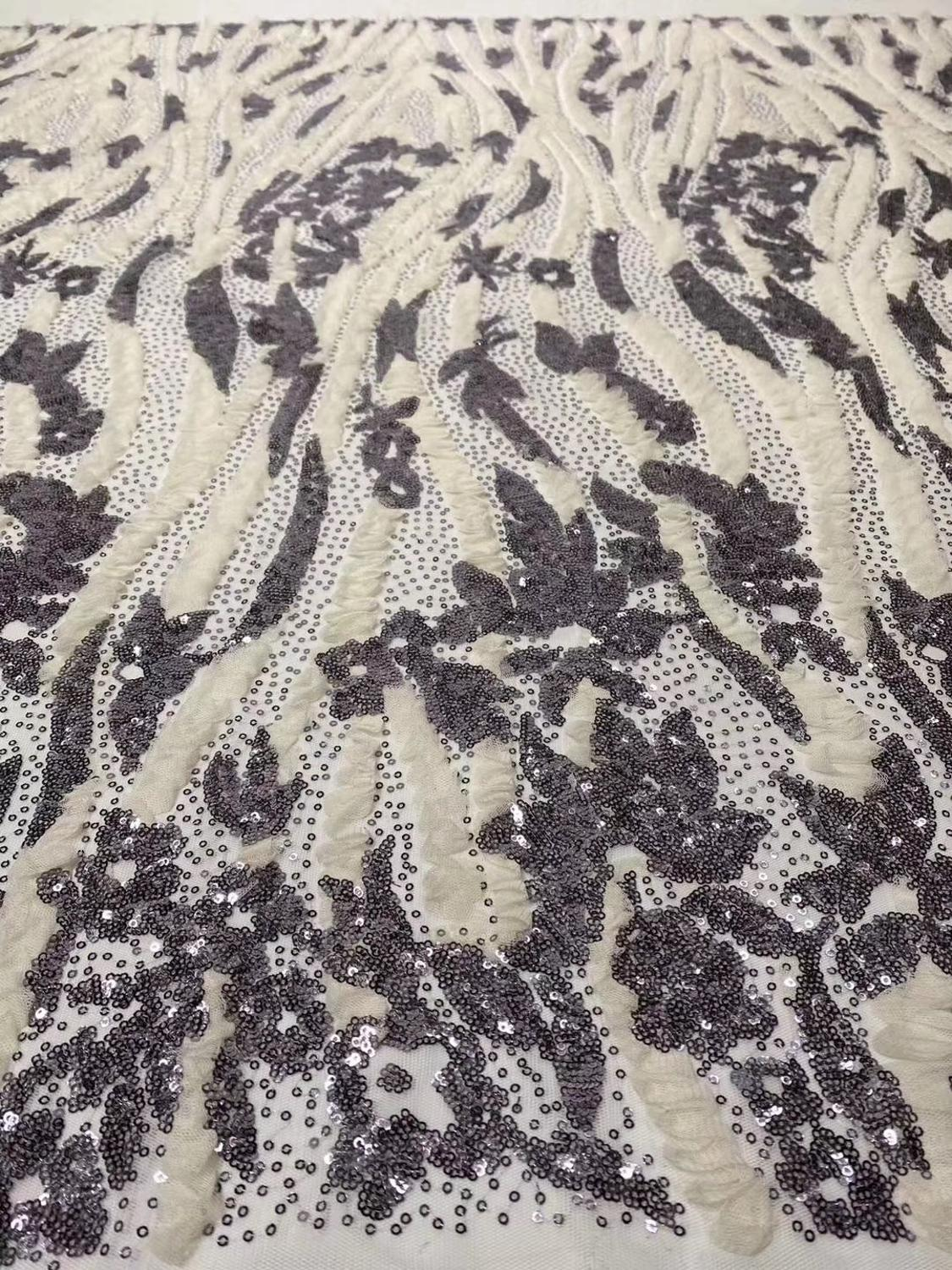 African Lace Fabric Embroidery Nigerian sequins Lace Fabric 2020 High Quality French Tulle Lace with sequence For Women Dress
