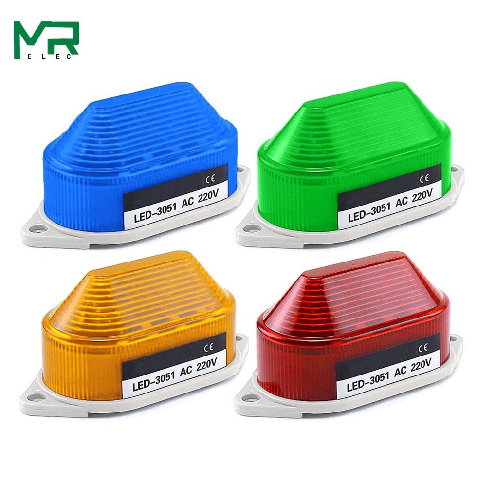 LED-3051 Strobe Signal Warning Light  12V 24V 220V Indicator Light LED Lamp Small Flashing Light Security Alarm