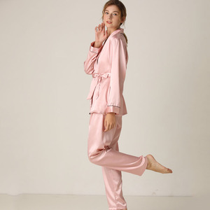 Image 2 - Lisacmvpnel Silk Long Sleeve Trousers Lapel High Archives Pajamas With Belt Solid Color Nightwear