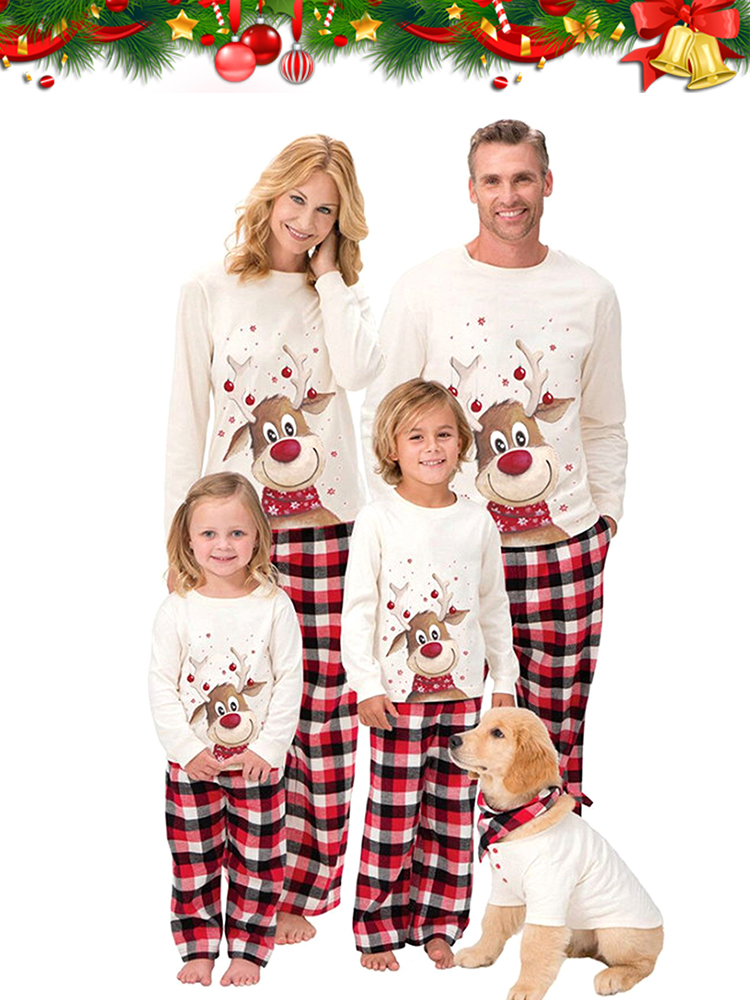 Pants Outfits Christmas-Pajamas Daddy Deer Family Matching Mommy Family-Look Daughter