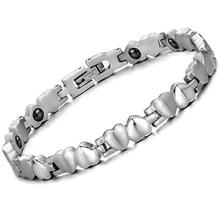 все цены на 20CM*7MM Heart Lady Heart Shaped Titanium Steel Magnetic Bracelet Magnet Bracelet Fashion Heart Stainless Steel Bracelet онлайн