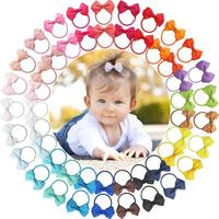 50 Pcs 2 Inch Tiny Hair Bows Elastic Ties Grosgrain Ribbon Bows Ponytail Holder Hair Accessories for Infants Toddlers Kids In Pa