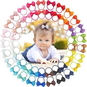 50 Pcs 2 Inch Tiny Hair Bows Elastic Ties Grosgrain Ribbon Bows Ponytail Holder Hair Accessories for Infants Toddlers Kids In Pa(China)