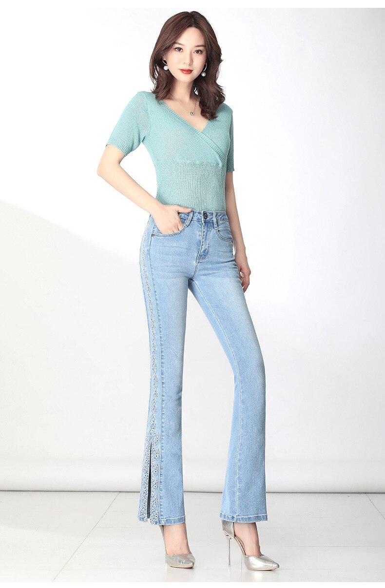 KSTUN FERZIGE Jeans Women Ligh Blue Boot Cut Embroidered Flared Pants High Waist Stretch Long Trousers Mom Jeans Push Up Big Size 36 12