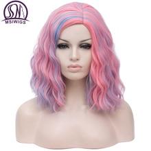 MSIWIGS Brevi Cosplay Parrucche per le Donne di Colore del Rainbow Parrucche Ondulate Lato Centrale Linea Sottile Cos Sintetico Rosa Netto Dei Capelli Ombre