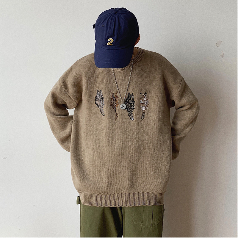 Winter New Sweater Men Fashion Embroidery Casual Solid Color O-neck Knit Pullover Man Streetwear Loose Warm Sweater Male Clothes