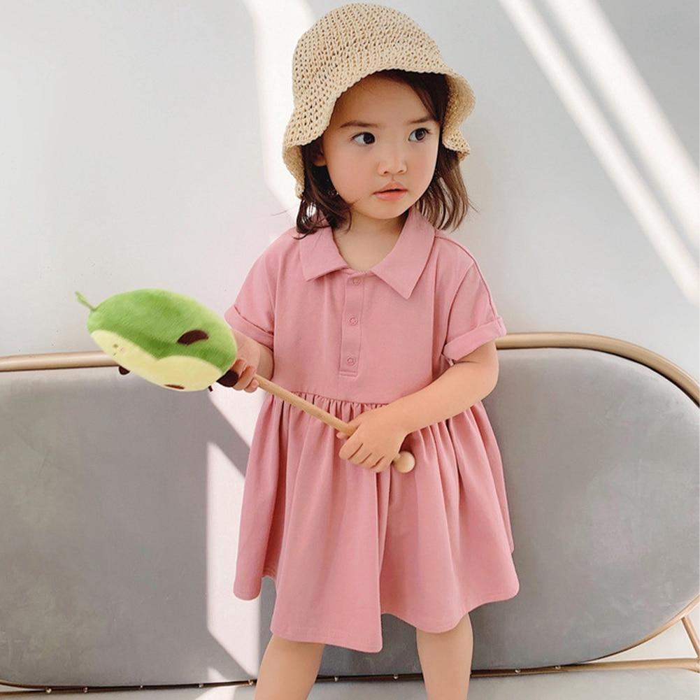 Summer Kid Girl Dresses Fashion Solid Cotton Girls Dress Short Sleeve Sailor Collar Casual Kids Dress Primary School Dress