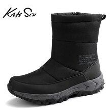 KATESEN 2020 חדש אופנה חורף גברים מגפי נוח חם בפלאש שלג מגפיים מקרית חיצוני גבוהה למעלה פרווה לעבוד נעלי גדול גודל חם