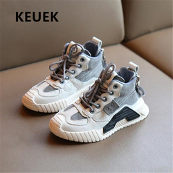 New Children Spring High Top Genuine Leather Boys Girls Casual Breathable Student Sneakers Baby Kids Sports Shoes Toddler 033