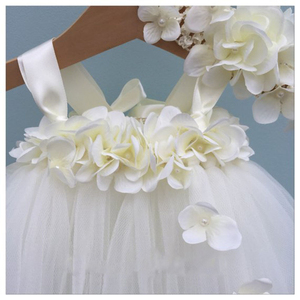 Image 3 - White Hydrangea Wedding Flower Girl Dress Kids O neck Sleeveless Christmas Dress Robe Princess Fluffy Girls Birthday Tutu Dress