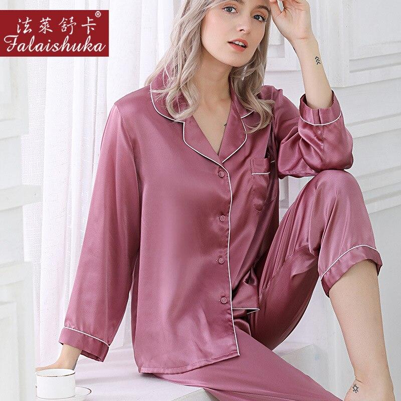 Женская пижама из 100% натурального шелка, Элегантная пижама с длинным рукавом, T8002