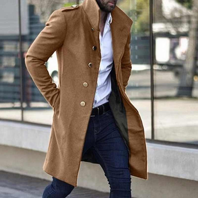 2019 Fashion heren Trenchcoat Winter Warm Solid Lange Wollen Jas Mannelijke Enkele Breasted Business Overjas Ongedwongen Wollen Bovenkleding