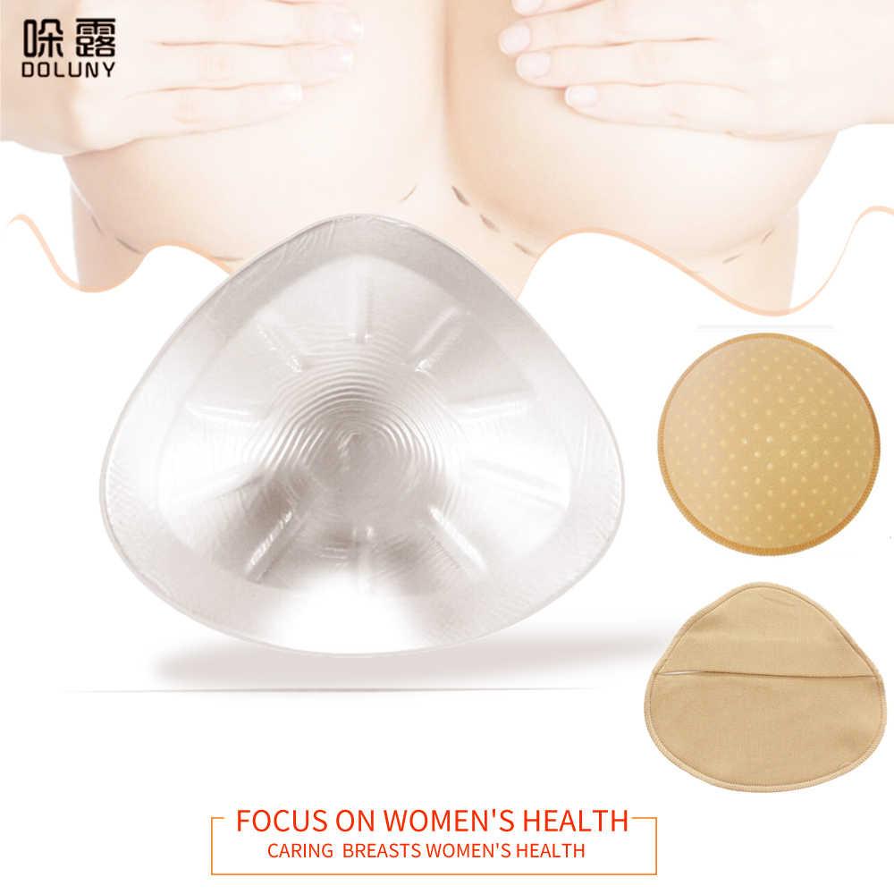 Prótese de silicone artificial transparente, forma de mastectomy, triângulo, de silicone, para mama falsa, esponja almofada d30 500g