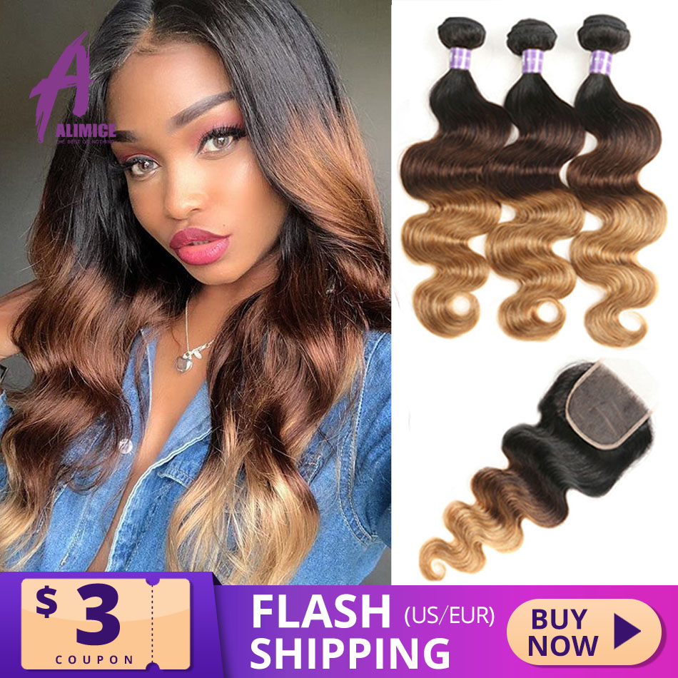 Alimice 3 Tone Ombre Bundles With Closure Indian Body Wave Hair Weave Bundles With Closure T1b/4/27 Remy Human Hair Extensions