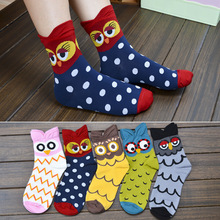 Fashion woman funny owl woman cotton socks Korean female style happy cute animal