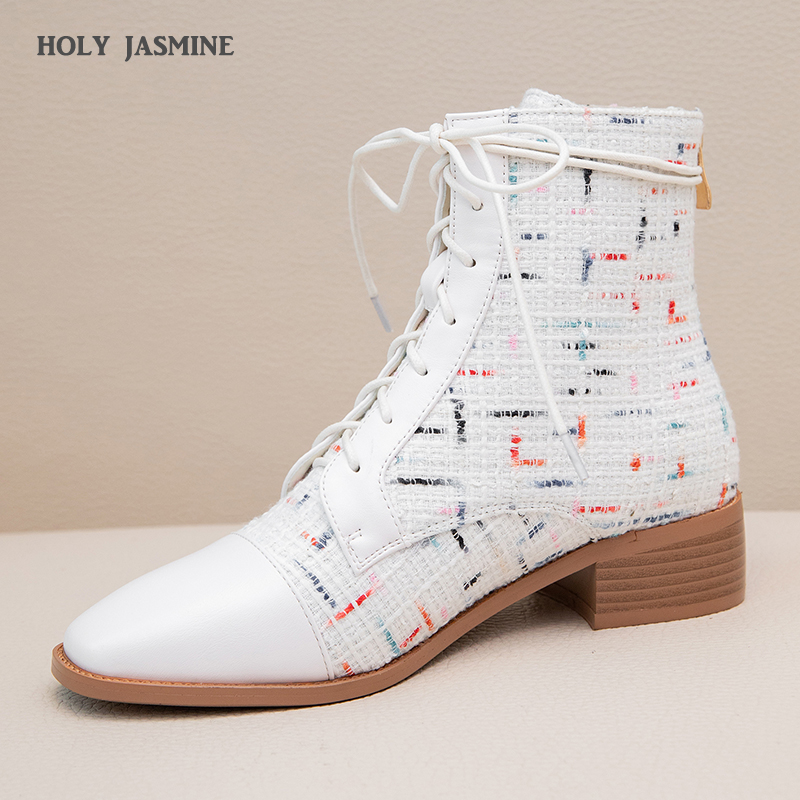 Women Winter Female Shoes Square Toe Shoes Mixed Color Lace-Up Shoes Martin Boots Ladies New Fashion Casual Boots Ankle Boots