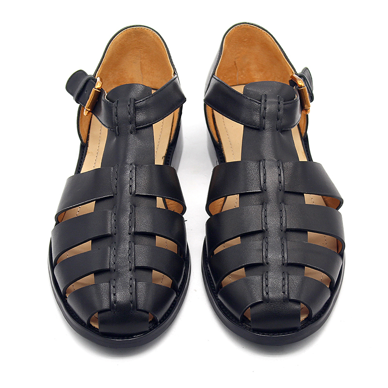 2020 Designer Men Genuine Leather Gladiator Sandals Retro Solid Black Sandals Summer Harajuku Leisure Shoes Buckle Footwear Male