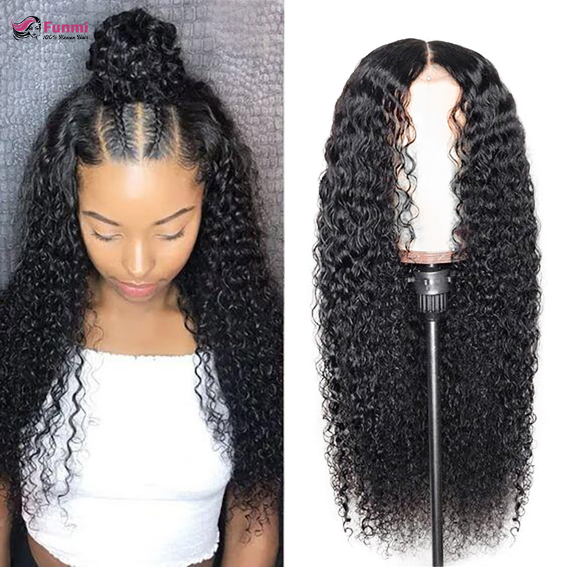 Mongolian Kinky Curly Human Hair Wigs Pre Plucked With Baby Hair Funmi Hair Remy Curly Wigs Glueless Lace Front Human Hair Wigs
