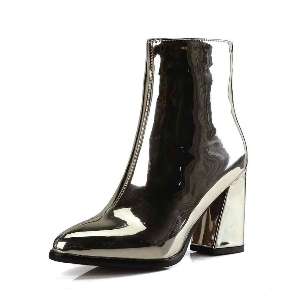2019 neue ankunft Mode Gold Silber Schwarz Zip spitz Platz heels High heels Ankle Party Frauen stiefel