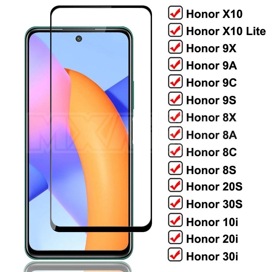 Funda completa templada de Honor X10 Lite 9X 9A 9C 9S cristal Protector Honor 8X 8A 8C 8S 20S 30S 9i 10i 20i 30i de vidrio