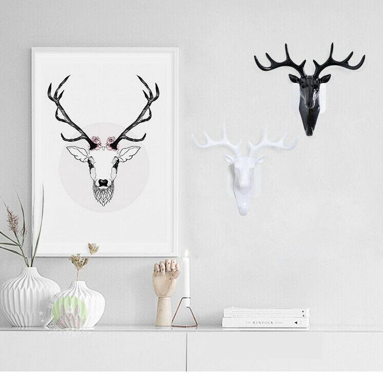 Vintage Deer Head Antlers For Hanging Clothes Hat Scarf Key Deer Horns Hanger Rack Wall Decoration Wall Hanging Hook