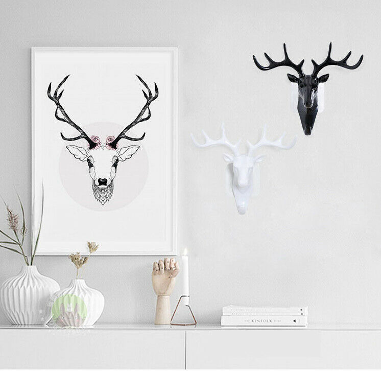 Vintage <font><b>Deer</b></font> Head Antlers for Hanging Clothes Hat Scarf Key <font><b>Deer</b></font> Horns <font><b>Hanger</b></font> Rack Wall Decoration Wall Hanging Hook image