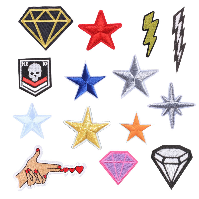 Star Sky Diamond Patches For Clothing Iron Embroidered Sewing Applique Cute On Fabric Badge New DIY Apparel Accessori Decoration