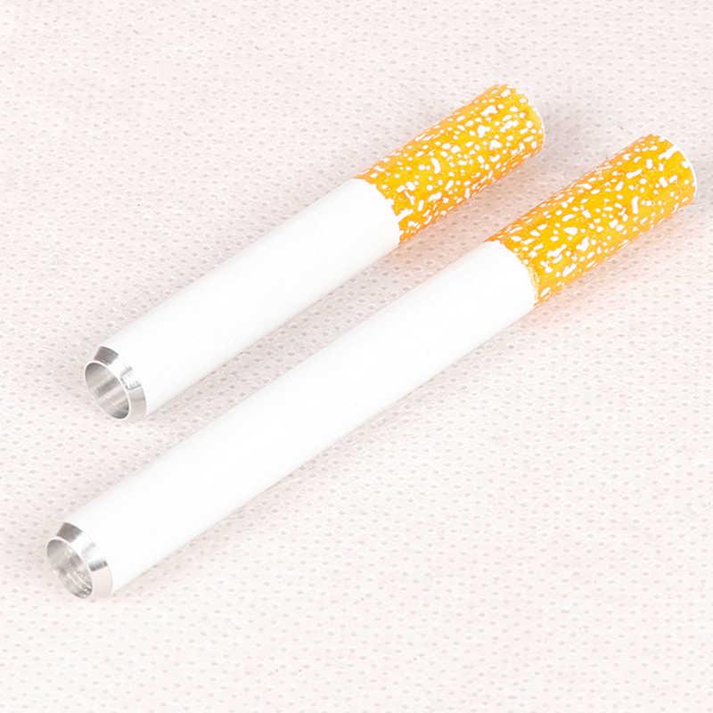 1/2 Uds. Portátil Mini cigarrillo forma Metal pipa accesorios para tabaco Shisha pipas olfateador salud fumar soporte