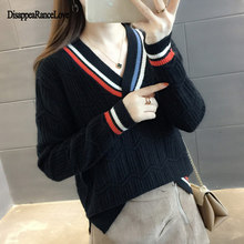 Women Sweater V Neck Fashion Autumn Knit Solid Color Sexy Pullovers Tops Elegant Striped Female