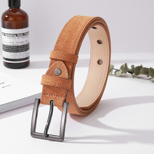 ELIsfashion Pigskin Genuine Leather Belt Luxury Line Deco Strap Dress & Jeans