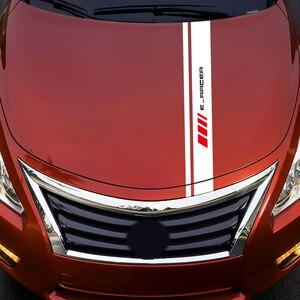 Image 5 - 자동차 스타일링 비닐 엔진 보닛 장식 스티커 후드 커버 트림 줄무늬 데칼 For Ibiza Leon SEAT Cupra e Racer FR FR Racing